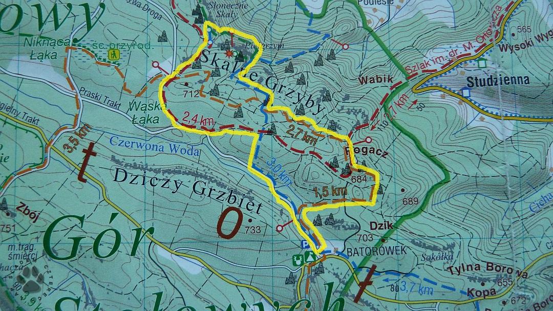 mapa Skalne Grzyby